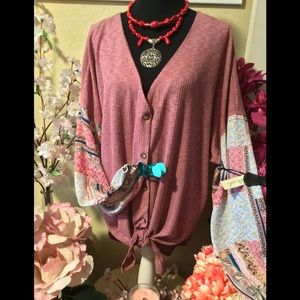 NWT Liberty Love 3XL Pink Rose+ Paisley Button Top